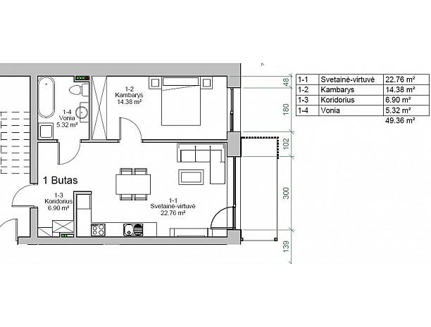 Įvairios kvadratūros butai Užliedžiuose 4