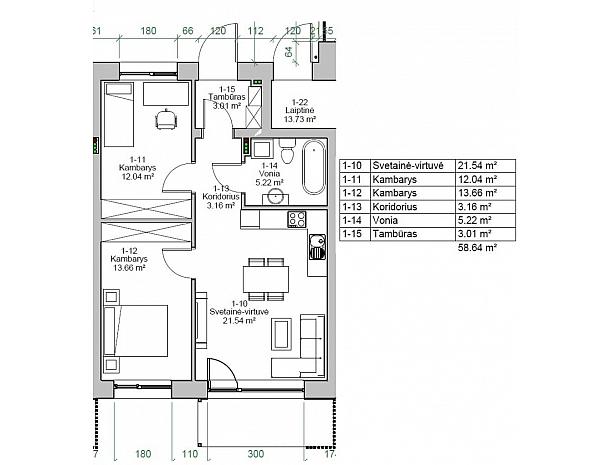 Įvairios kvadratūros butai Užliedžiuose 5