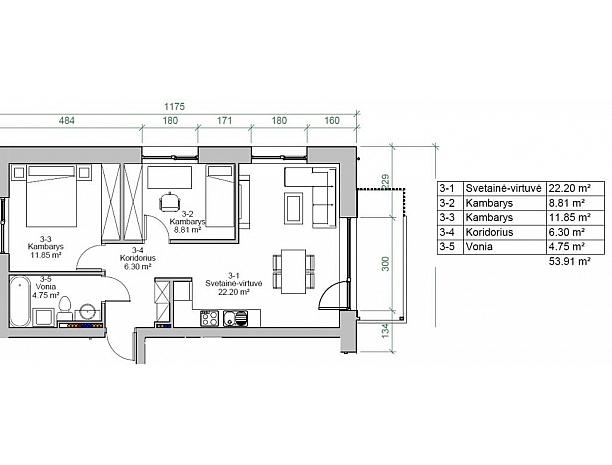 Įvairios kvadratūros butai Užliedžiuose 9